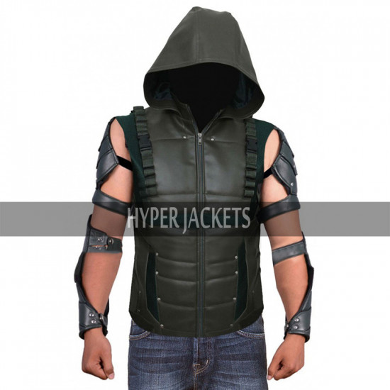 Green Arrow Oliver Queen Hooded Leather Costume Vest