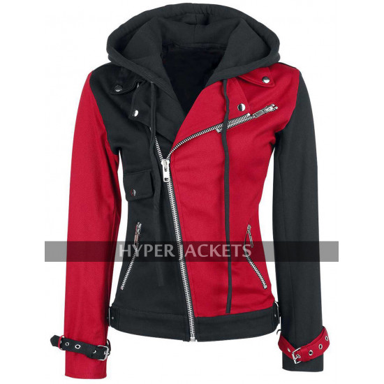 Suicide Squad Harley Quinn Red And Black Biker Hoodie Cotton Jacket
