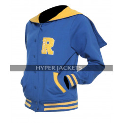 Womens Riverdale Blue Hoodie R Logo Cheer Girls Fleece Bomber Varsity Jacket