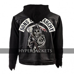 Sons Of Anarchy SOA Highway Zip Up Hooded Black Biker Leather + Wool Jacket