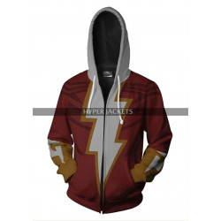 Zachary Levis Shazam Costume Cotton Red Hoodie