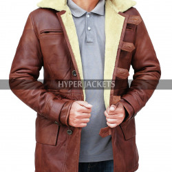 Bane Dark Knight Rises Tom Hardy Costume Fur Shearling Distressed Brown Leather Coat