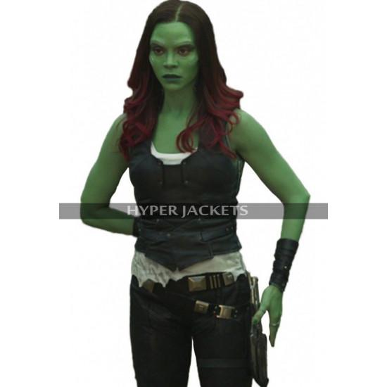 Gamora Guardians Of Galaxy 2 Zoe Saldana Brown Leather Coat Costume Vest