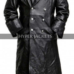 German Classic WW2 Military Officer Black Leather Trench Coat