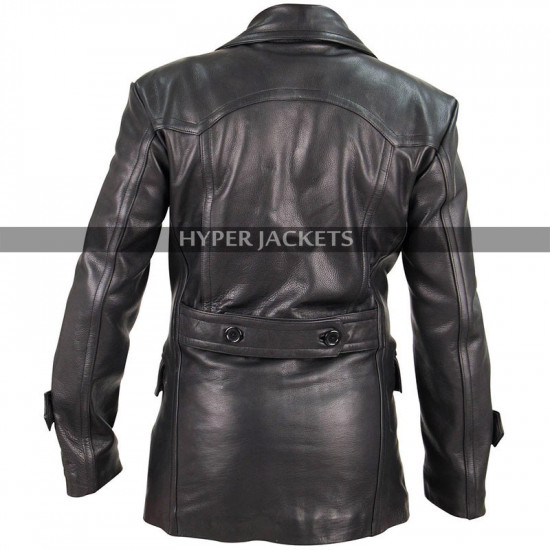 WW2 German Classic Military Officer Black Leather Coat