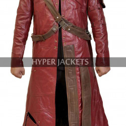 Peter Quill Guardians Of Galaxy Star Lord Costume Red Leather Coat