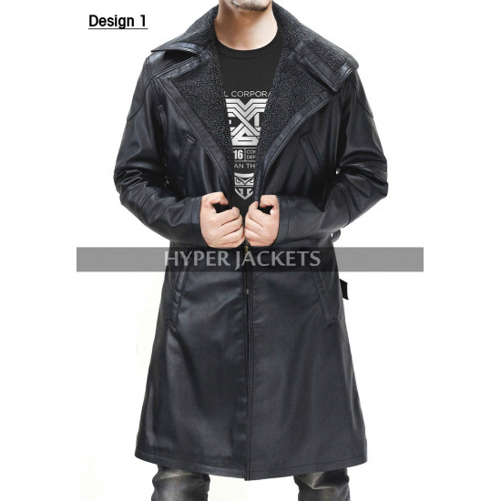 Ryan Gosling Blade Runner 2049 Officer K Fur Collar Black Leather Trench Coat