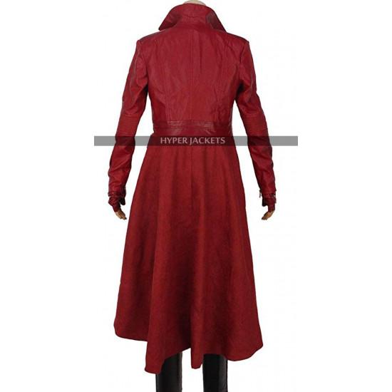 Captain America:Civil War Wanda Maximoff Red Leather Jacket