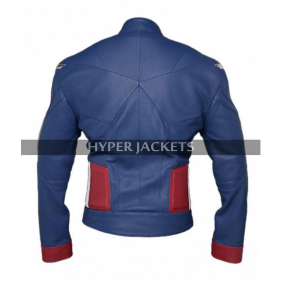 Captain America Avengers Endgame Chris Evans Blue Leather Jacket