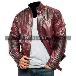 Star Lord Guardians Of Galaxy Vol 2 Chris Pratt Maroon Costume Leather Jacket