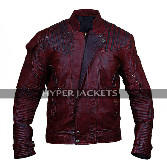 Starlord Guardians of the Galaxy 2 Chris Pratt Peter Distressed Maroon Leather Jacket