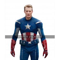 Captain America Avengers Endgame Chris Evans Blue Leather Jacket