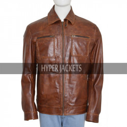 Arrow John Diggle David Ramsey Brown Leather Jacket