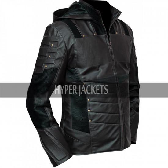 Green Arrow Season 5 Stephen Amell Hooded Costume Jacket