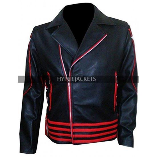 Freddie Mercury Rami Malek Red And Black Leather Jacket