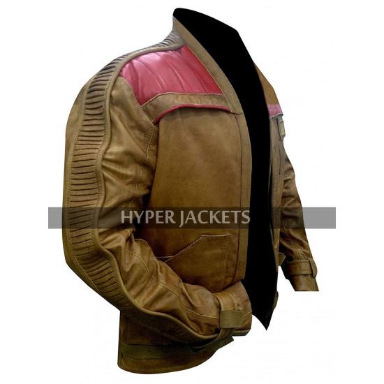 John Boyega Star Wars The Force Awakens Finn Brown Biker Costume Leather Jacket