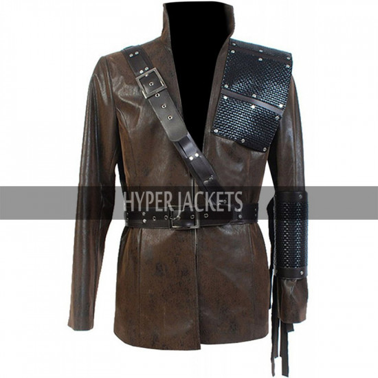 Arrow Dark Archer Malcolm Merlyn Costume Brown Leather Jacket