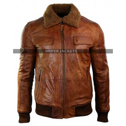 Vintage Mens B3 Washed Rust Removable Fur Collar Aviator Pilot Jacket