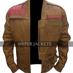 John Boyega Star Wars The Force Awakens Finn Brown Biker Costume Leather Jacket