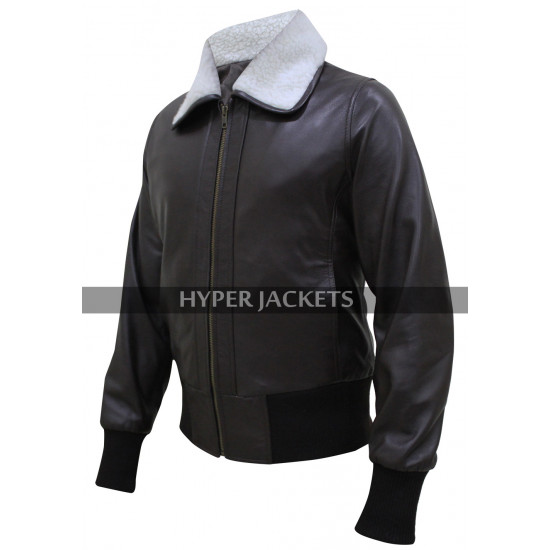 Harley Quinn Bombshell Jokers Wild Fur Collar Bomber Brown Leather Jacket