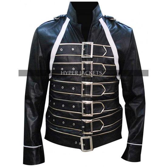 Freddie Mercury Straps Front Fastening Black Leather Jacket
