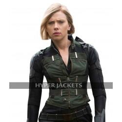 Black Widow Avengers Infinity War Scarlett Johansson Black Costume Leather Vest