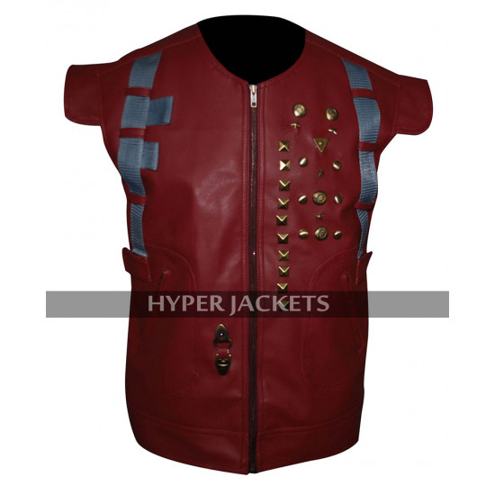 Star Lord Guardians Of Galaxy Chris Pratt Peter Costume Red Leather Vest