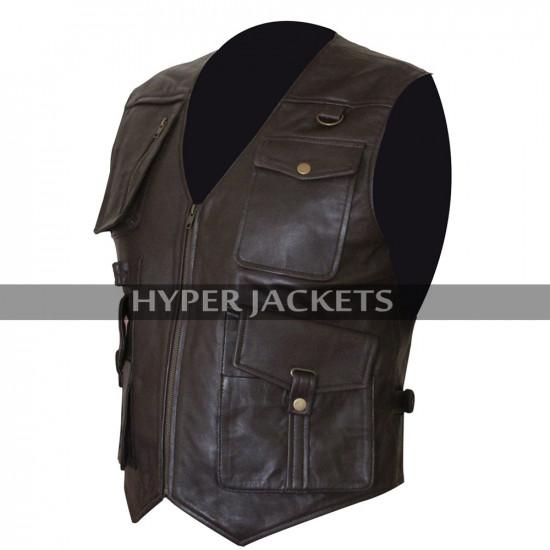 Chris Pratt Jurassic World Fallen Kingdom Owen Grady Biker Brown Leather Vest