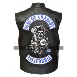 Charlie Hunnam Sons Of Anarchy S7 Jax Teller Biker Black Leather Vest