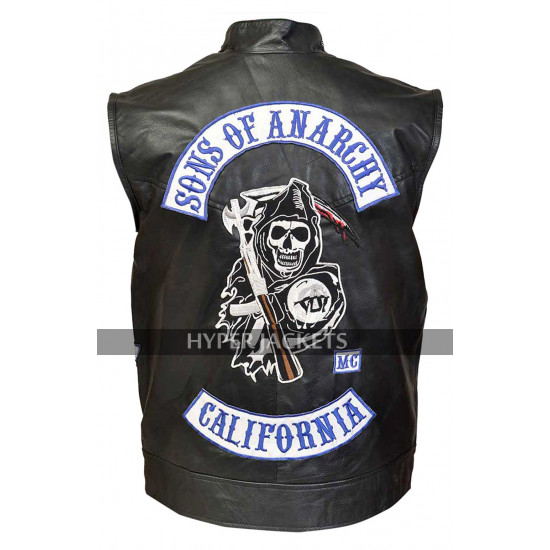 Charlie Hunnam Sons Of Anarchy S7 Jax Teller Biker Black Leather Vest