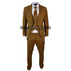 Mens Antique 1920 Style Shawl Lapel 3 Piece Vintage Brown Suit
