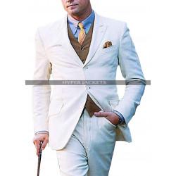 Leonardo Dicaprio The Great Gatsby White 3 Piece Suit