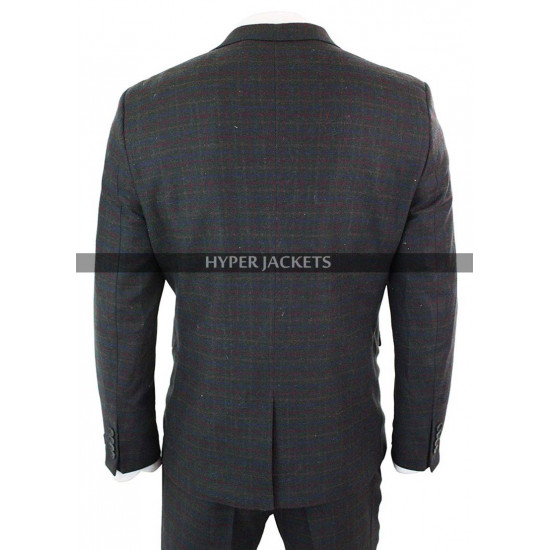 1920s Mens Vintage Checkered Style 3 Piece Double Breasted Grey Suit