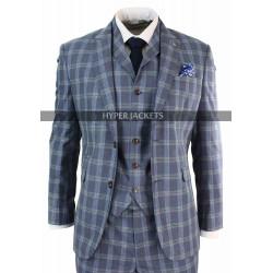 Men Vintage 1920s Plaid Style 3 Piece Double Breasted Light Blue Suit