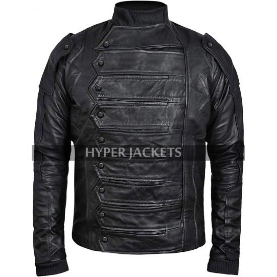 Captain America Winter Soldier Bucky Barnes Black Armor Costume Biker Leather Jacket
