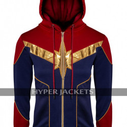 Captain Marvel Brie Larson Cotton Hoodie Cosplay Costume Jacket - Unisex