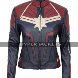 Brie Larson Captain Marvel Movie Costume Leather Jacket