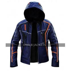 Avengers Infinity War Iron Man Tony Stark Robert Blue Leather Hoodie Jacket