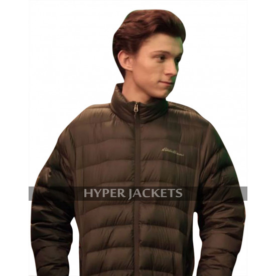 Tom Holland Avengers Infinity War Peter Parker Quilted Bomber Brown Jacket