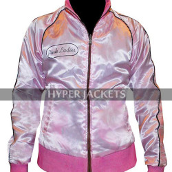 Grease 2 Michelle Pfeiffer Pink Ladies Stephanie Reversible Bomber Satin Jacket