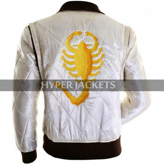 Drive Scorpion Ryan Gosling Quilted White Satin Bomber Jacket