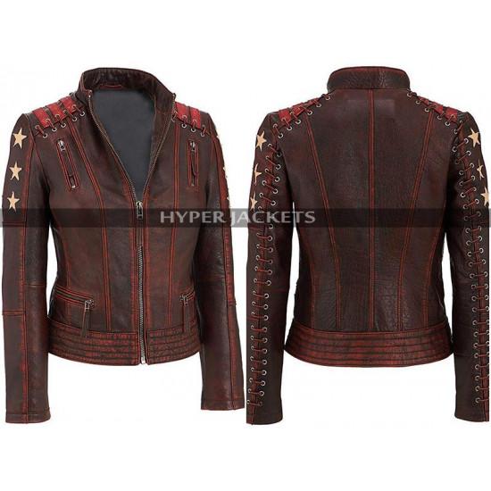 Womens Cafe Racer Biker Distressed Biker Leather Jacket