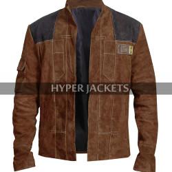 Han Solo A Star Wars Story Alden Ehrenreich Brown Suede Leather Jacket