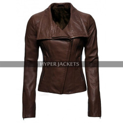 Lyla Michaels Arrow Audrey Marie Anderson Brown Biker Leather Jacket