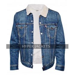 Jughead Jones Riverdale TV Series Cole Sprouse Blue Denim Fur Sherpa Jacket