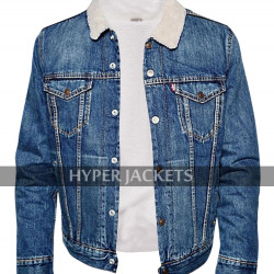 Jughead Jones Riverdale TV Series Cole Sprouse Blue Denim Fur Sherpa Jacket