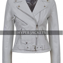 Pretty Little Liars Ashley Benson Grey Biker Leather Jacket