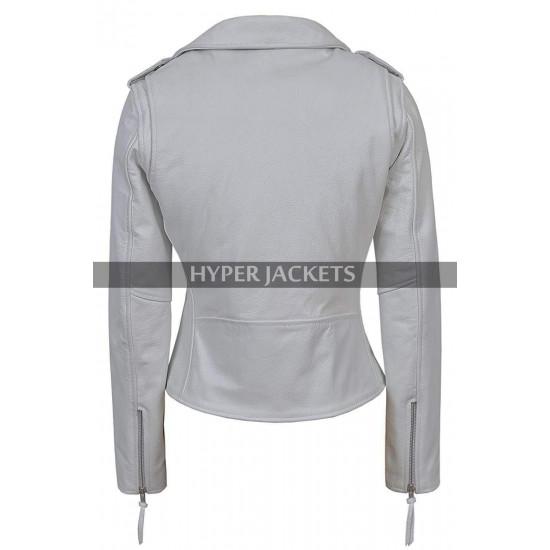 Pretty Little Liars Ashley Benson Grey Biker Leather Jacket