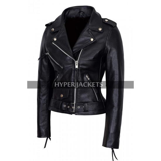 Pretty Little Liars Emily Fields Moto Biker Leather Jacket