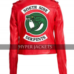 Cheryl Blossom Riverdale Southside Serpents Madelaine Red / Black Leather Jacket
